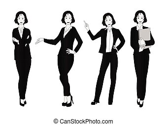 Business Woman Gray Full Body Illustration