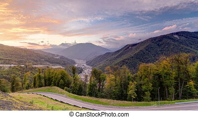 Autumn in High Mountains at sunset. Sochi, Russia. Krasnaya Polyana timelapse