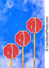 Traffic Signs - Many Old Traffic Signs on blue sky...