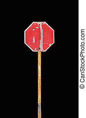 Traffic Signs - Old Traffic Signs on black background