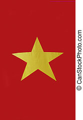 Vietnam flag - Closeup of Vietnamese flag and its yellow...