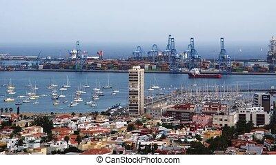 Harbor in Gran Canaria - sea entry to las Palmas de Gran...
