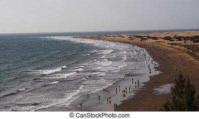 Playa del Ingles in Maspalomas, Gran Canaria, Time Lapse