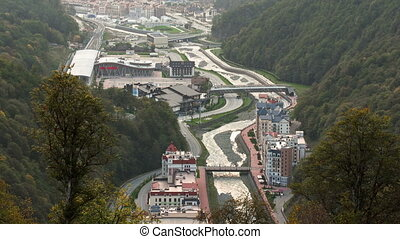 Settlement of municipal type Krasnaya Polyana and the river...