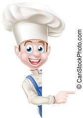 Chef Pointing Around Sign - A cartoon chef, cook or baker...