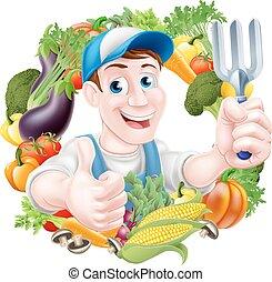 Cartoon Vegetable Gardener - Cartoon gardener character in a...