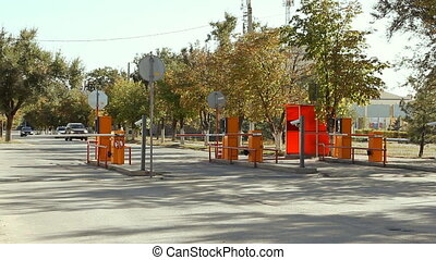 Automatic security barrier at the parking in International...