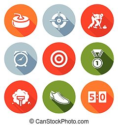 Curling Icons Set. Vector Illustration. - Isolated Flat...