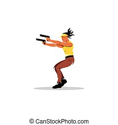 Dual wield Vector Illustration - Girl with two guns shooting...