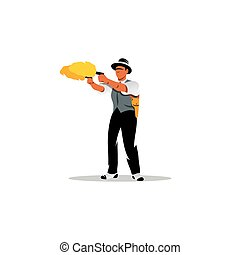 Dual wield. Vector Illustration. - Man with two guns...