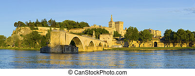 Panorama of Avignon in a summer evening