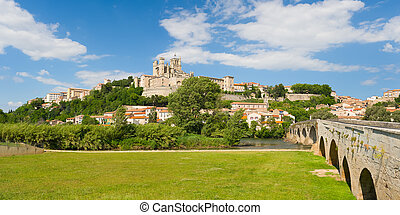 Beziers - Panorama of Beziers in a spring day