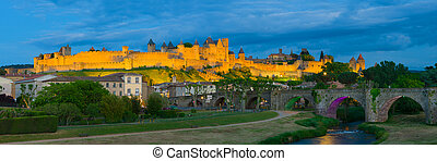Night view of Carcassonne