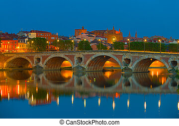 Night Toulouse in summer - Cityscape of Toulouse at a dark...