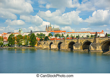 Prague and the Vltava river in a summer day