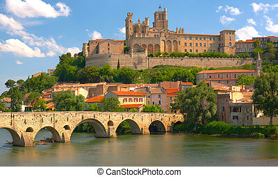 Beziers at a spring day - View of Beziers at a spring day