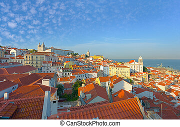 Old district of Lisbon in the evening