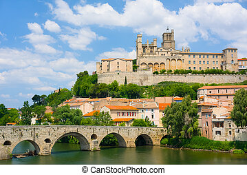 Beziers in a summer day - View of Beziers in a summer day