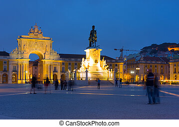 Commerce Square in Lisbon at night