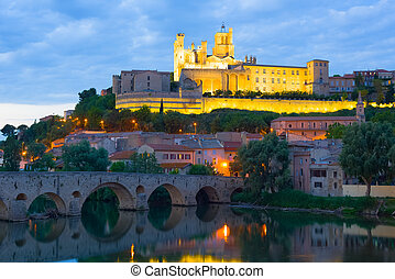 Beziers in a summer evening - View of Beziers in a summer...