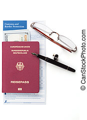 customs declaration with german travel passport and fountain...