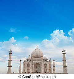 Taj Mahal Agra India with blue sky