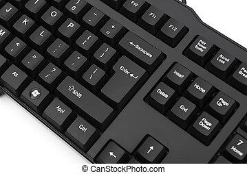 black keyboard on white background
