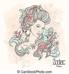 Zodiac. Vector Pisces - Zodiac. Vector illustration of...