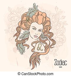 Zodiac. Vector Leo - Zodiac. Vector illustration of Leo as...