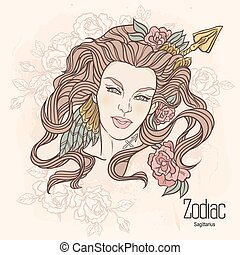Zodiac. Vector Sagittarius - Zodiac. Vector illustration of...