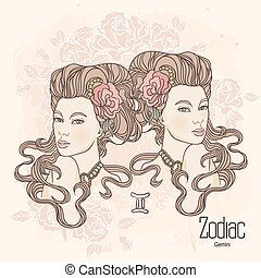 Zodiac. Vector Gemini - Zodiac. Vector illustration of...