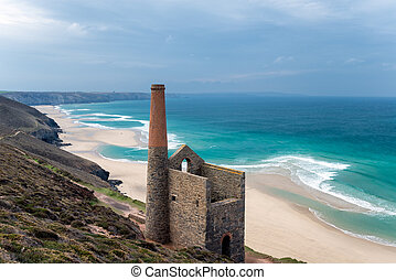 St Agnes in Cornwall - The ruins of an old Cornish engine...