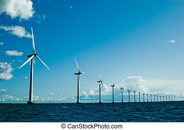 Windmills further, horizontal - Windmills in a row further,...