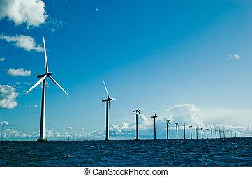 Windmills further, horizontal - Windmills in a row further,...