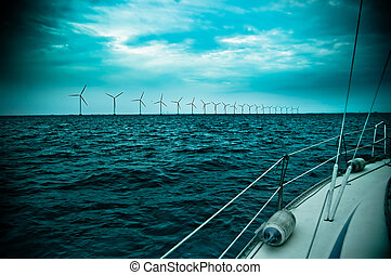raw of windmills shot from yacht, denmark, oresund, baltic...