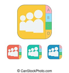 contact icon on the white background. Vector illustration.