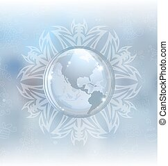 Snow globe with map - A vector illustration of a snow globe...