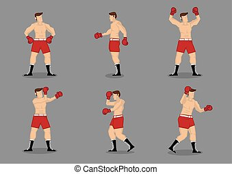 Muscular Boxer Vector Icon Set - Set of six muscular...