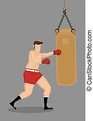 Boxer Training with Punching Bag - Vector illustration of a...
