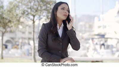 Woman Speaking Cellphone On The Street - Business woman...