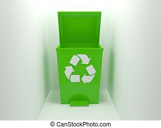 recycle bin,green