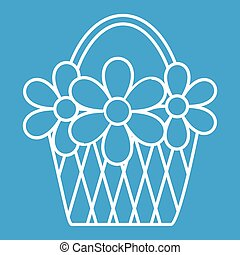 Basket with flowers thin line icon