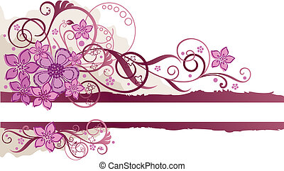 Pink floral banner with space for text. Vector illustration.