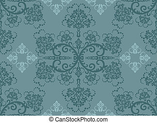Seamless turquoise floral wallpaper. Vector illustration