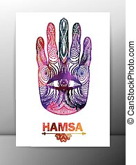Hamsa hand card with ornament. Vector, EPS10.