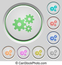 Gears push buttons