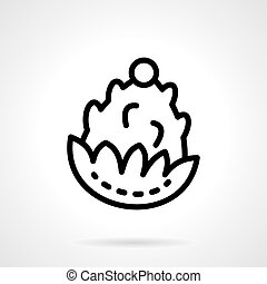 Pine cone black line vector icon - Pine cone or fir-tree...