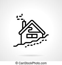 House in winter black line vector icon - House in snowdrift....