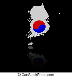 South Korea map flag with reflection illustration