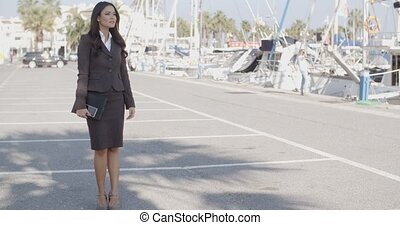 Business Woman Stand In Yacht Club - Business woman stand in...